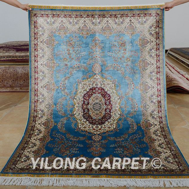 Greatest Yilong 4'x6' Traditional turkish carpet blue vantage antique  LC68