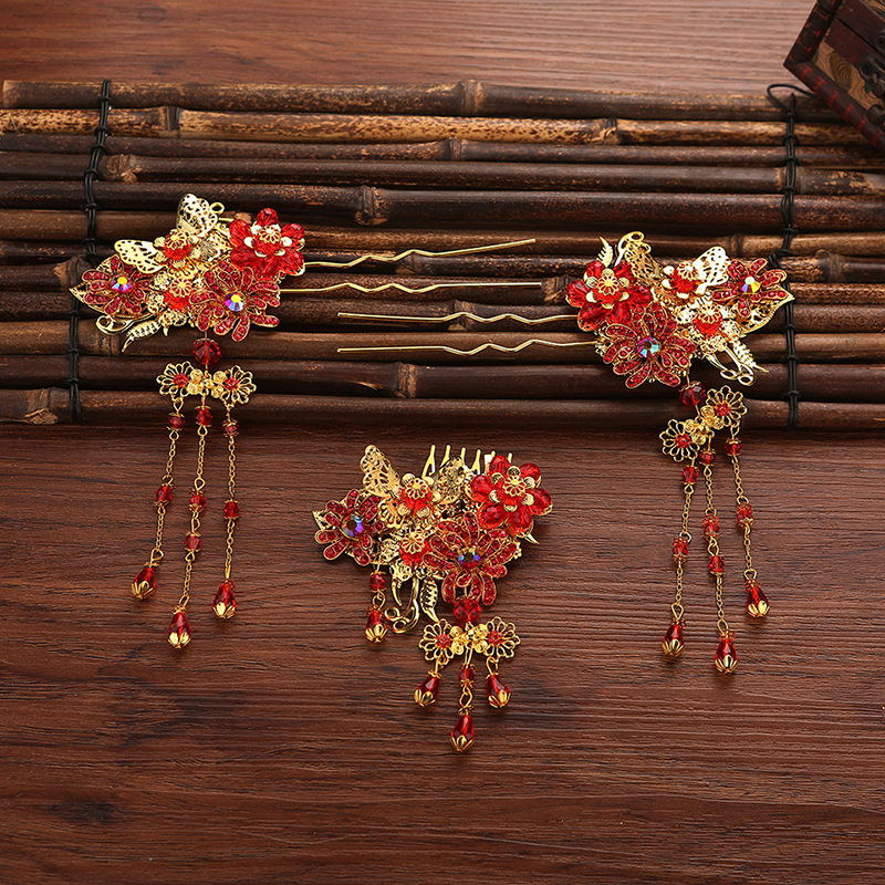 3pcs sets hair pins comb sets Vintage Chinese bride headdress costume coronet wholesale jewelry wedding bride han guang traditional chinese wedding bride hair tiaras for xiuhefu hair accessory set for costume