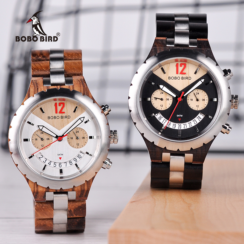 BOBO BIRD Luxury Brand Metal Wood Watch Men Chronograph Wristwatch with Calendar Smile Face Dial Timepiece