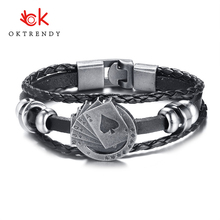 Oktrendy Mens Leather Bracelet Playing Cards Raja Vegas Charm Multilayer Braided Women Pulseira Masculina