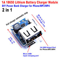 2in1 charge discharge board module DIY 1A 18650 lithium battery charging Power Mobile Bank DC Boost 3V 3.3V 3.7V TO 5V USB|  -