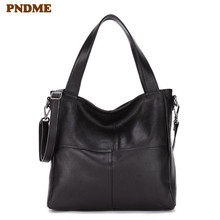 PNDME casual simple first layer cowhide ladies handbag shoulder bag for women daily light genuine leather female messenger bags 100%genuine leather handbags women crocodile handbag messenger shoulder bags first layer cowhide leather zipper party bag purple
