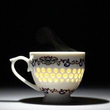 Фарфоровая чайная чашка с ручкой китайская керамическая для