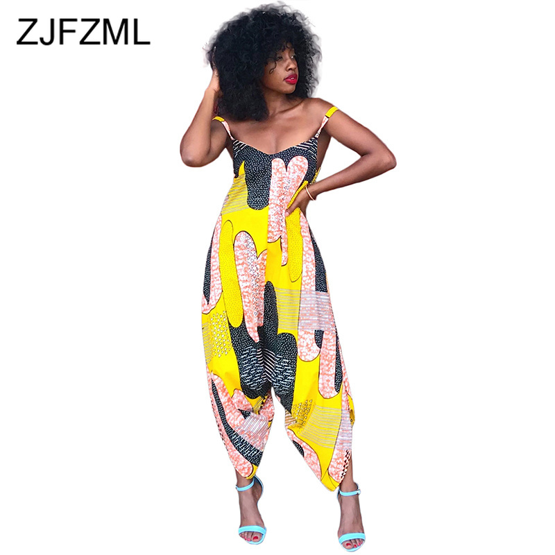 Geometric Print Casual Plus Size Romper Women Spaghetti Strap Backless Loose   Jumpsuit   Streetwear Deep V Neck Sleeveless Overall