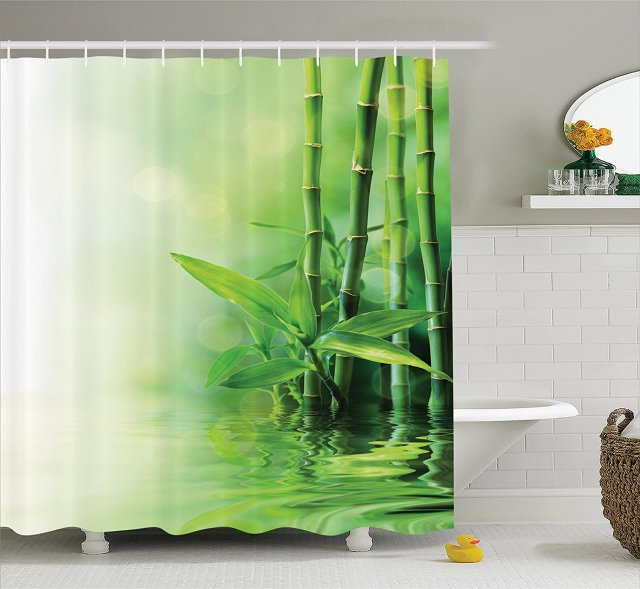 Asian Decor Shower Curtain Set Bamboo Stalks Reflection On Water ...