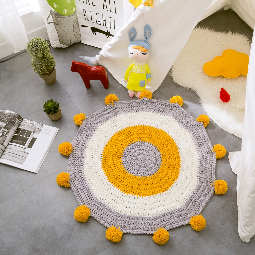 Stylish Colored Yellow Ball Stripes Hand Woven Carpet Mat European Round Mats Bedroom Decor Kids Room Play Rug Knitting Carpet