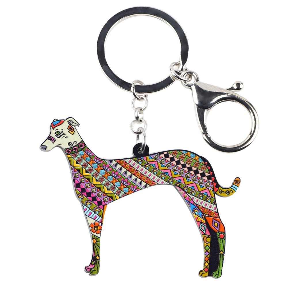Bonsny Acryl Erklärung Greyhound Hund Schlüssel Kette Keychain Ring Geschenk Für Frauen Mädchen Pet Liebhaber Auto Tasche Charme Anhänger Schmuck neue