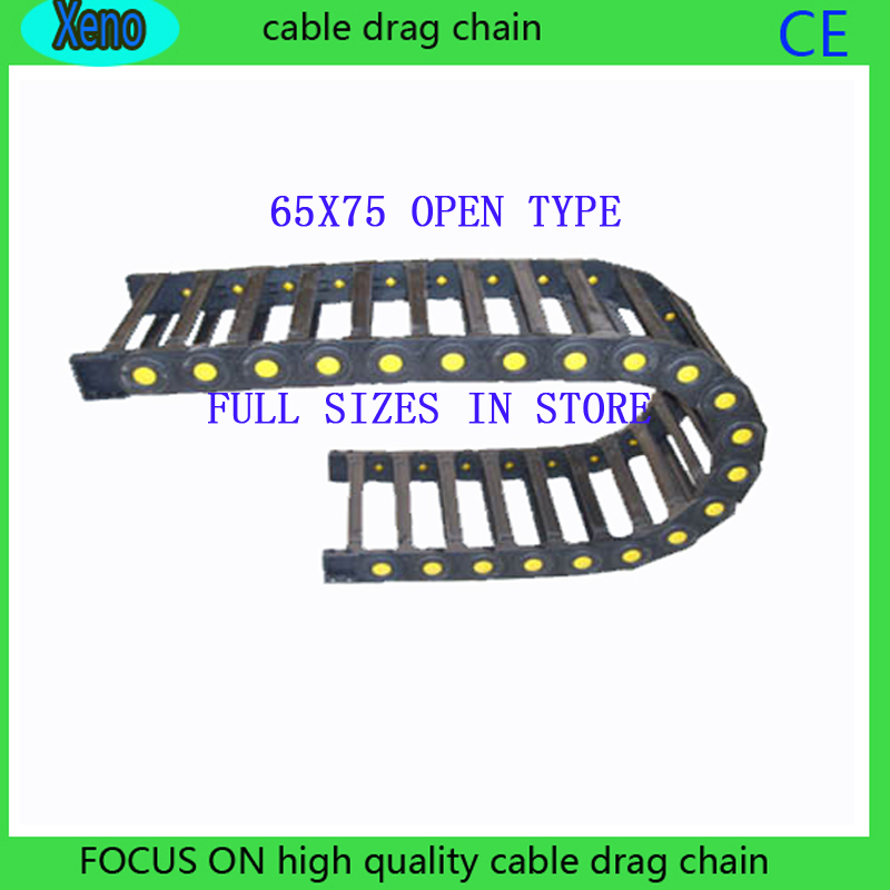 Free Shipping 65*75 10 Meters Bridge Type Plastic Towline Cable Drag Chain Wire Carrier With End Connects For CNC Machine