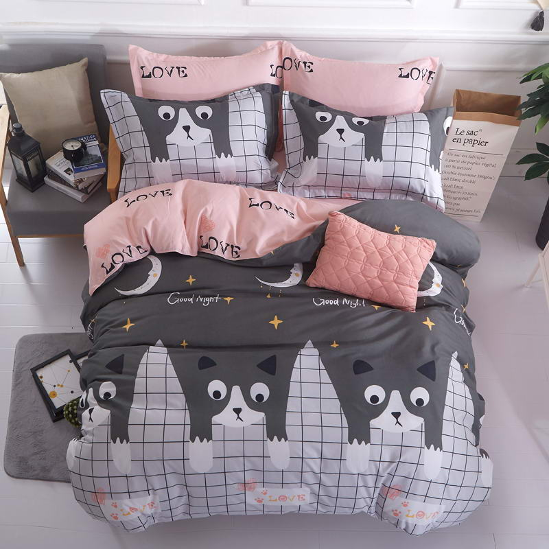 New Autumn Winter Bedding Sets Cute Little Kitten Duvet Cover Set Cover Flat Sheet Pillowcase 2pcs Queen King 4pcs Twin 3pcs