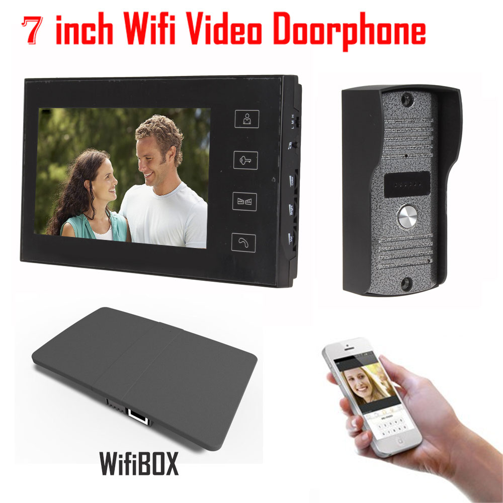 7 inch LCD 700TVL IR Camera Wireless WiFi IP Video Doorphone Video Intercom Doorbell Support IOS Android iPad Smart Phone Tablet 2016 new wifi doorbell video door phone support 3g 4g ios android for ipad smart phone tablet control wireless door intercom