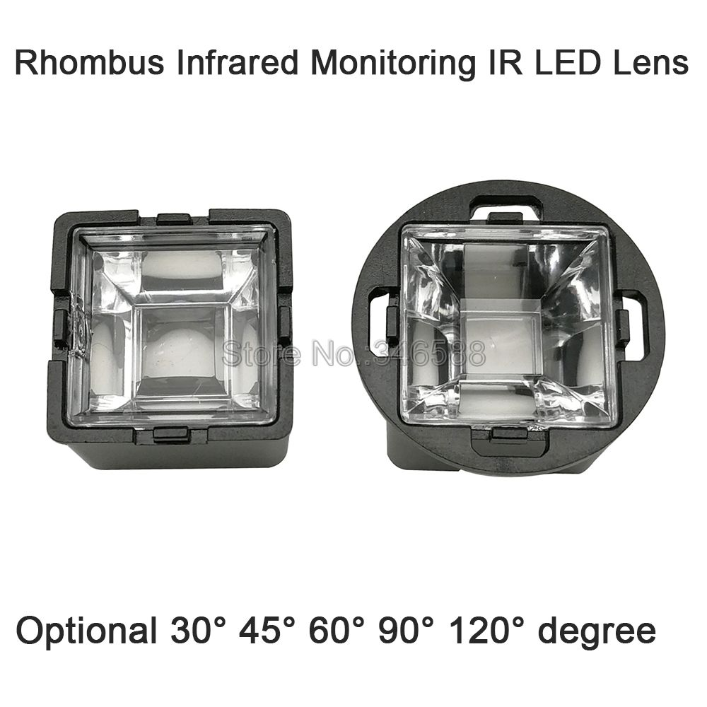 22mm Rhombus Infrared Monitoring IR <font><b>LED</b></font> <font><b>Lens</b></font> With Black Holder 30 45 60 90 120 Degree for 1W <font><b>3W</b></font> 5W High Power 850nm 940nm <font><b>LED</b></font> image