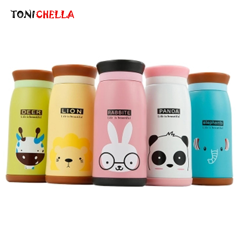 Baby Insulated Cup Vacuum Flask Children Thermos Drink Water Bottle Stainless Steel Animal Printing Portable Learning Cup BB5066