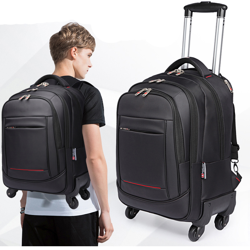 Rolling 20 Luggage Spinner Backpack Shoulder Travel Bag High Capacity Man Suitcase Wheels Multifunction Trolley Carry OnTrunkRolling 20 Luggage Spinner Backpack Shoulder Travel Bag High Capacity Man Suitcase Wheels Multifunction Trolley Carry OnTrunk