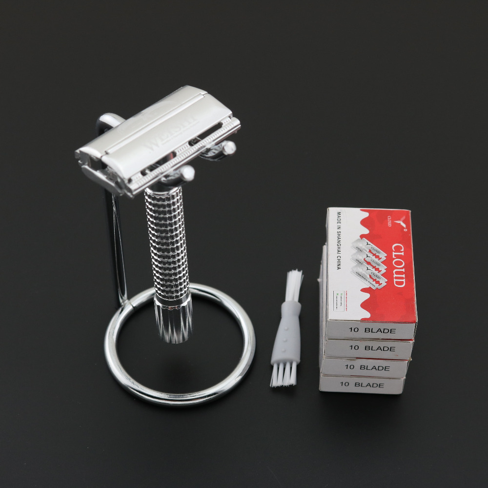 WEISHI Double Edge Safety Razor Aluminum alloy 2003-M with Razor holder + 40PCS <font><b>blades</b></font> Simple packing 1SET/LOT NEW
