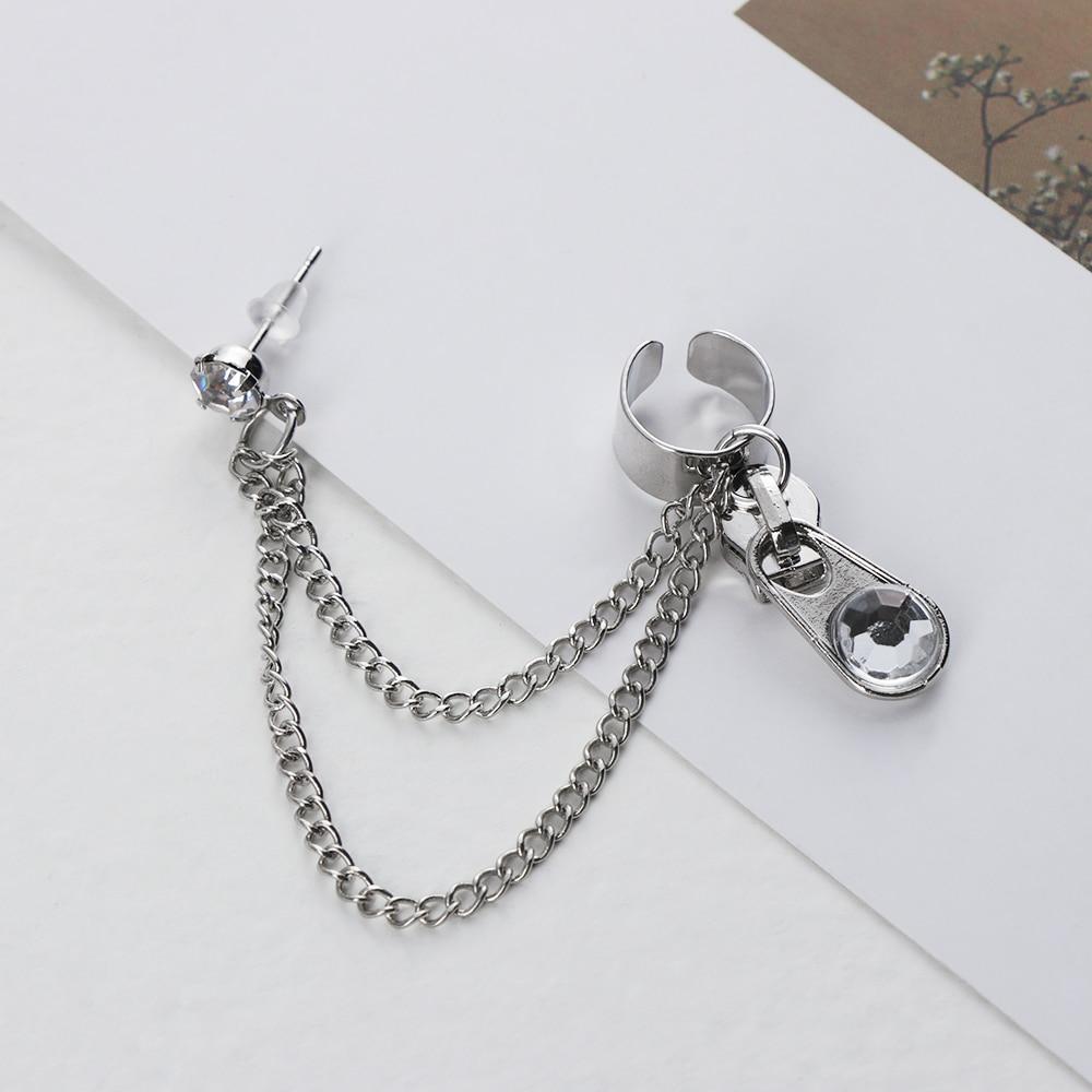 Cross Drop Earrings For Women Vintage Long Chain Cross Zipper Dangle Earrings Men Women Tassels Pendant Punk Jewelry Gift