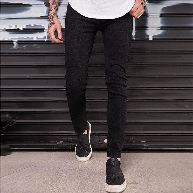 HOT 2019 Fashion Casual Black Skinny Jeans Knee Big Hole Stretch Jeans Hip Hop Streetwear  Motorcycle Biker Men's Pencil Pants