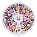 1200 pcs 3D Dicas Da Arte do Prego Mista Prego Glitters Flor Do Coração Strass Nai lDecorations Manicure + Roda NA1077
