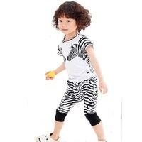 Girls Clothing Set 2017 New Cartoon Zebra T Shirt Shorts Pants Baby Clothes Summer Style High