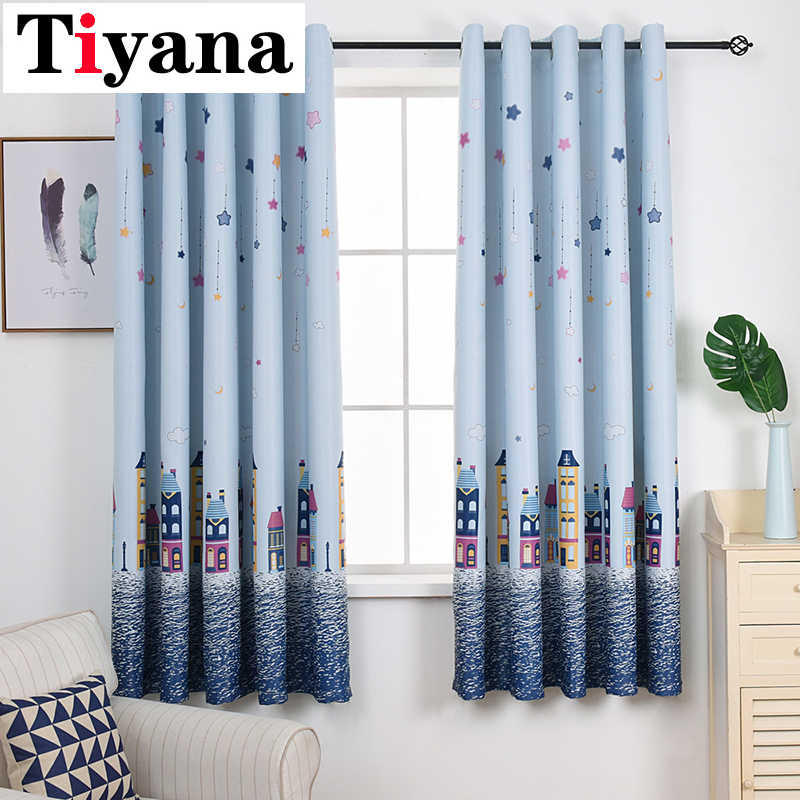 Cartoon Boy Girl Bedroom Cortinas Living Room Blue Beige Blackout Curtains Window Drapes Children Cloth Curtains For Kids PC10Y