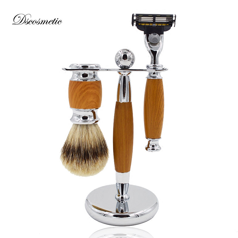 Men's Shaving Set silvertip Badger Hair Shaving Brush + Razor + Razor Stand Shaving Holder Male Barber Facial Cleaning Tool mens badger shaving brush stand razor holder and double head safety straight razor