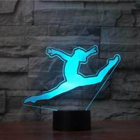 Kids Creative Gifts Bedroom Sleep Lamparas 3D Gymnast Shape Light Fixture 7 Color Changing Night Lights