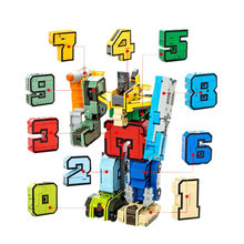GUDI Transformable Number Robots Toys Blocks Maths Training Toys Bricks Building Block Sets Models Educational Toys For Children(China)
