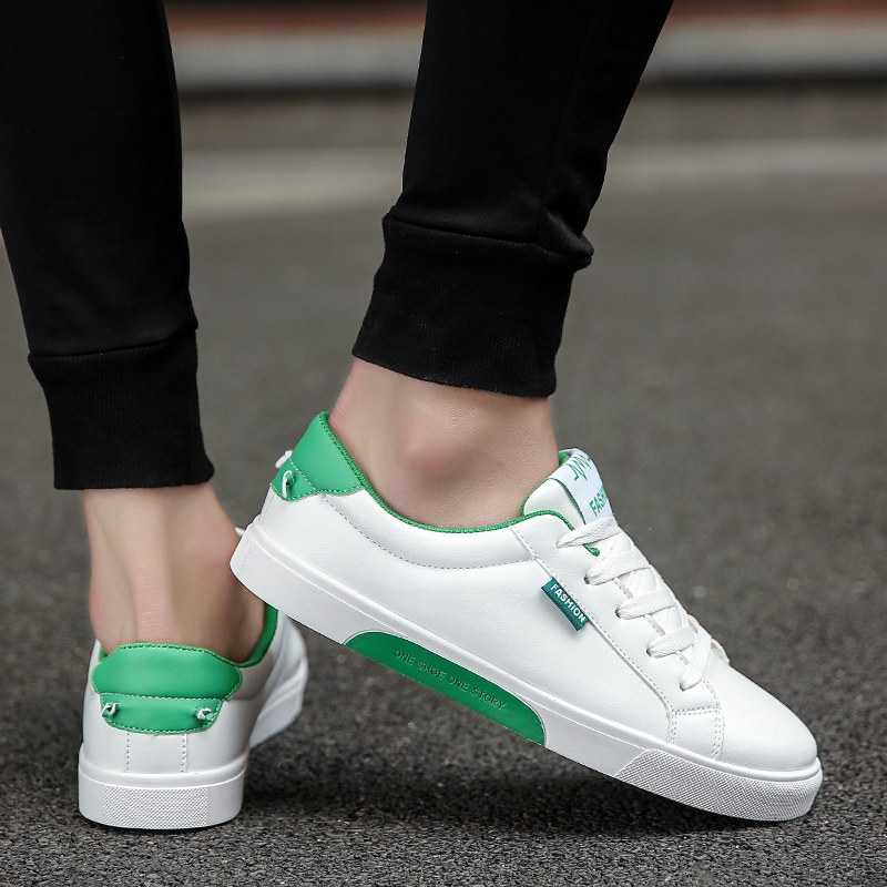 2018 new spring man lace-up white shoes high quality non-slip PU Leather solid color mens casual