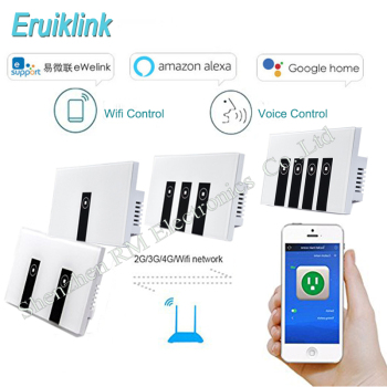 Ewelink US Standard 1 2 3 gang wall light app switch,touch control panel,wifi remote control via smart phone,work with Alexa chint lighting switches 118 type switch panel new5d steel frame four position six gang two way switch panel