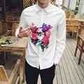 Original Designs Printed Shirts Plus Size Men Floral Dress Shirt 2016 Harajuku Spring Casual Long Sleeve Rose  Autumn 8 Types