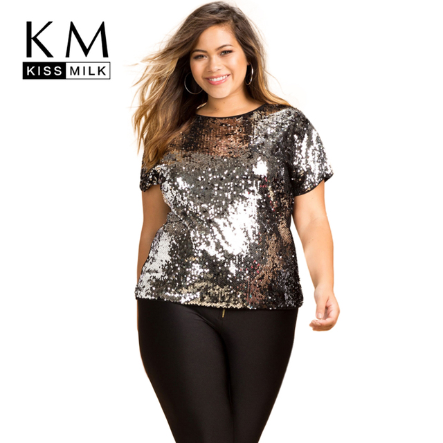 Kissmilk Plus Size New Fashion Women Clothing Casual Loose Sequins Patchwork Top Tees O-Neck Big Size T-shirt 3XL 4XL 5XL 6XL