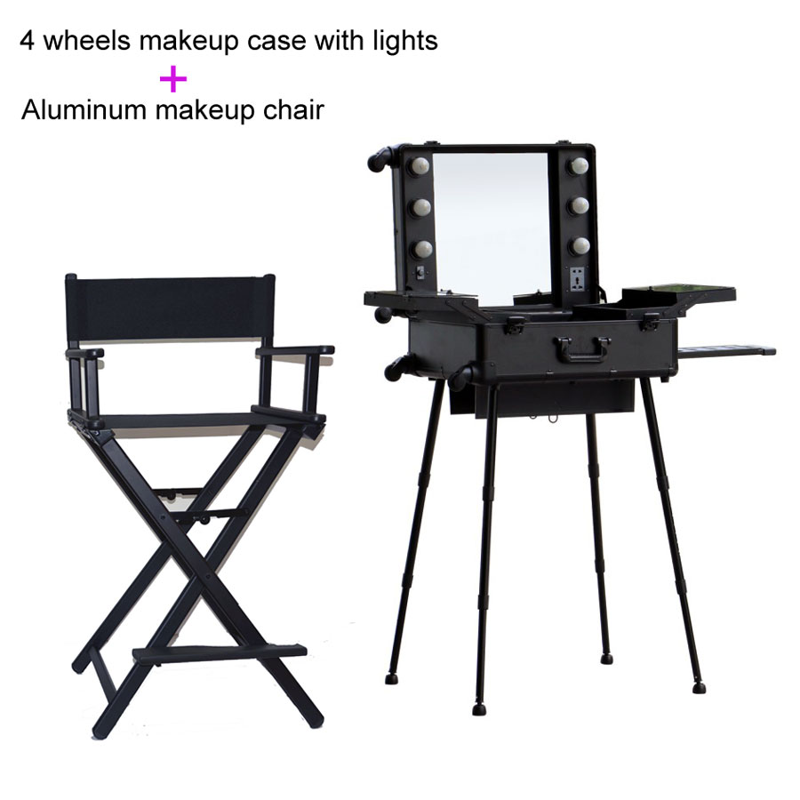 Portable makeup chair - Free Shipping To Europe India Uk 1set Lot Black Lighted Makeup Station With Portable Chair In Cosmetic Bags Cases From Luggage Bags On