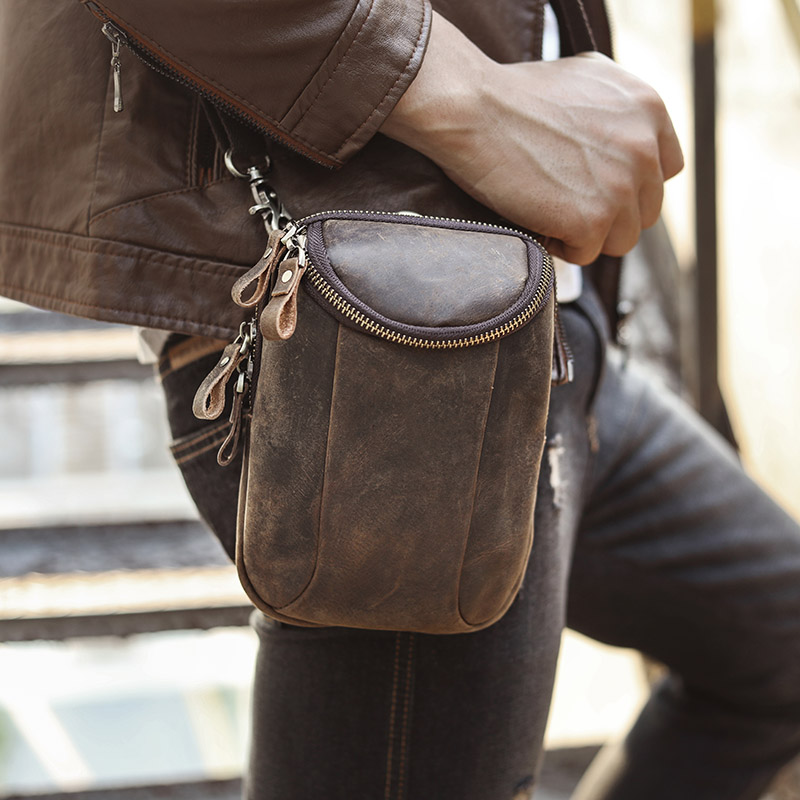 New Quality Leather Men Casual Fashion Small Shoulder Messenger Bag Designer Hook Fanny Waist Belt Pack Cigarette Case 611-25-d
