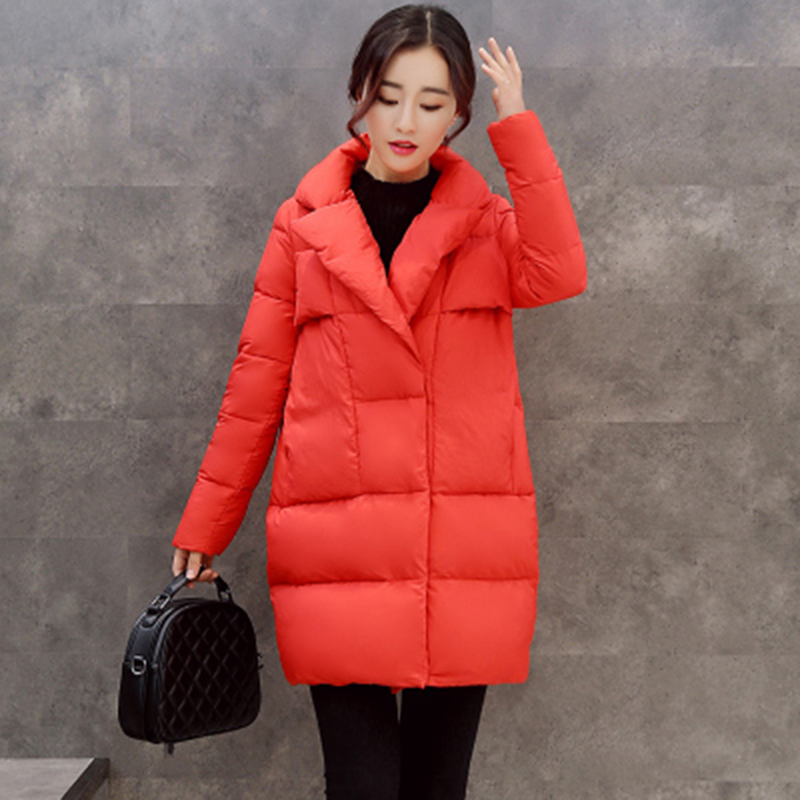 2018 Women's Autumn Winter Jacket Casual Fashion Women   Parka   High-Quality Female Notched Lapel Button Coat   Parka   Plus Size XH476