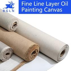 BGLN 5m mezcla de lino imprimado lienzo en blanco para pintura de alta calidad capa de pintura al óleo lienzo 5m un rollo, 28/38/48/58 de ancho