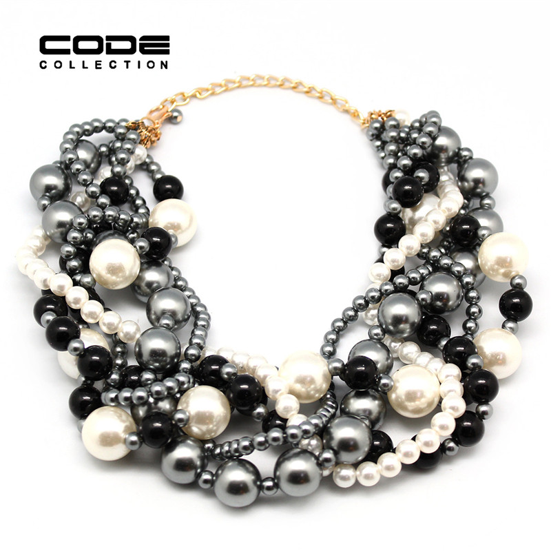 product New Exaggerated Large Size Multi-Level Grey Black White Pearl Necklace Pearl Beads Women The Bride Adorn Article Wedding