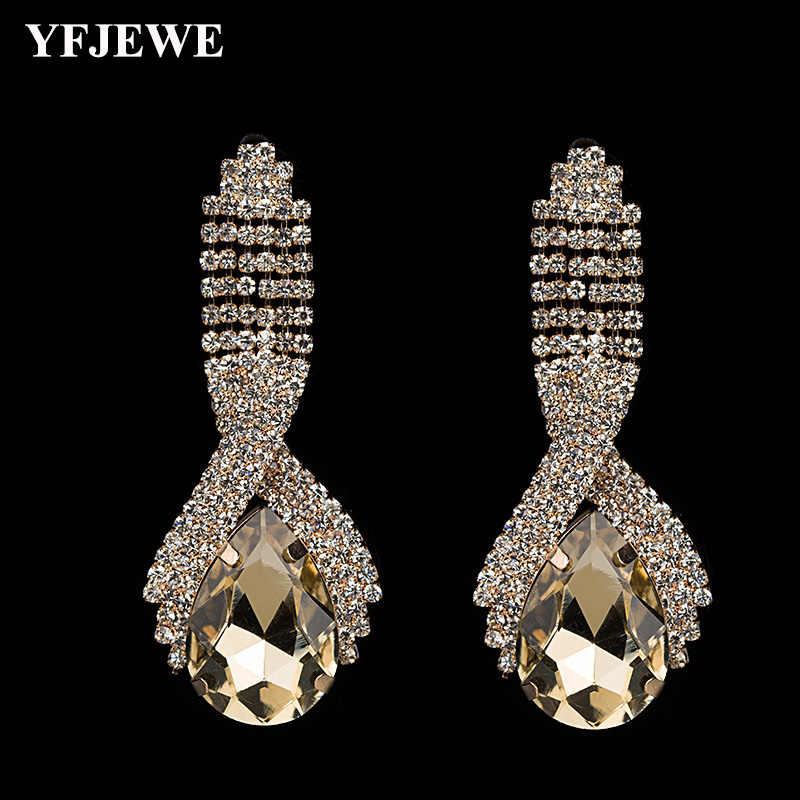 YFJEWE Party Wearing Big Size Cushion Multi Color Crystal  Earrings For Girls Wholesale Earring #E001