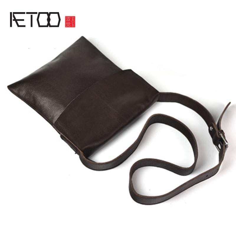 AETOO Original first layer of leather simple wild shoulder bag Messenger bag men bag handbags leather soft bag tide aetoo first layer of leather shoulder bag female bag korean version of the school wind simple wild casual elephant pattern durab