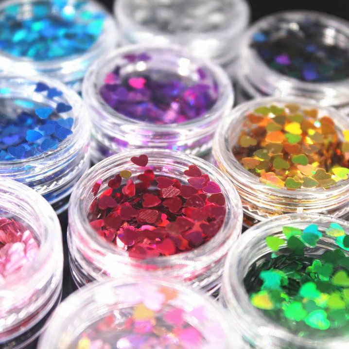 (1 pçs/vender) 12 cores coração prego/corpo/olho brilho em pó laser paillettes brilhando diy arte do prego feminino superfine decorações moda