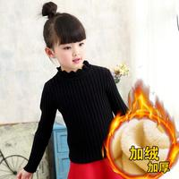 Kids Girls Sweater Lace Collar Warm Clothing Cashmere Woolen Outfits Children Girl Spring Winter Thin Thick