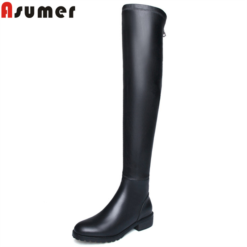 ASUMER black fashion hot sale new over the knee boots round toe zip pu+cow leather boots med heels ladies prom long boots