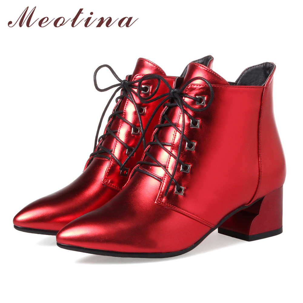 Meotina kadın yarım çizmeler düşük topuklu kadın kısa çizmeler Lace Up bahar kadın ayakkabı büyük boy 33-43 bayanlar kırmızı çizmeler 2018 moda