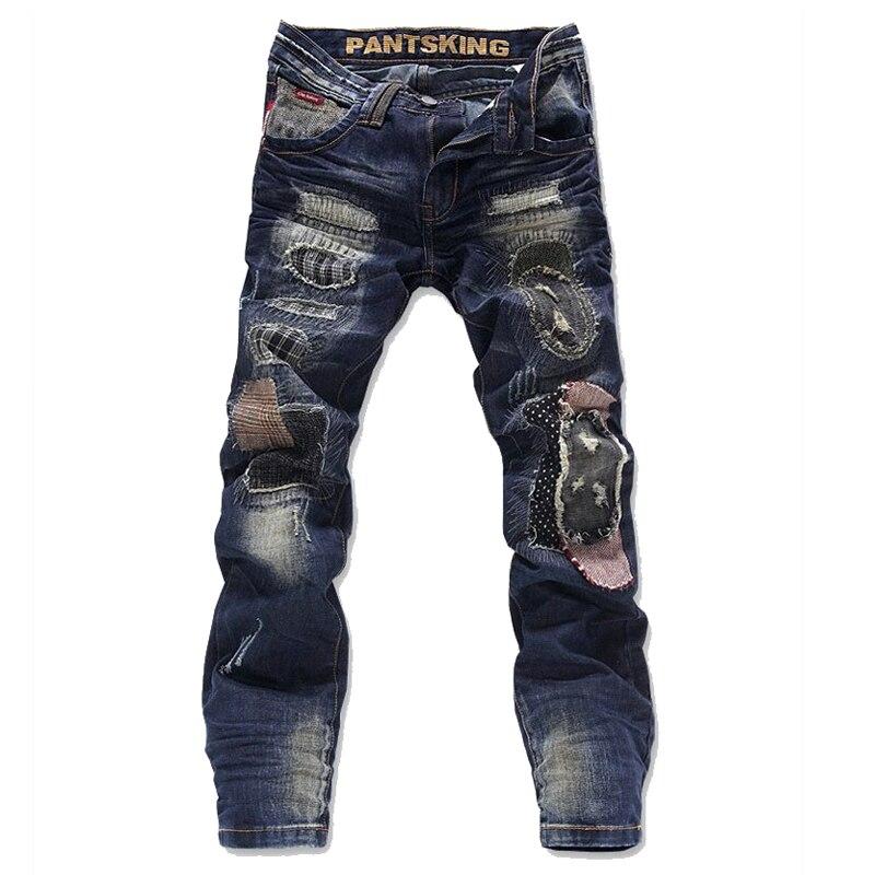 TOP QUALITY fashion ripped men jeans straight pants denim cotton biker trousers size 28-36 CPK6810 plus size ripped straight leg biker jeans