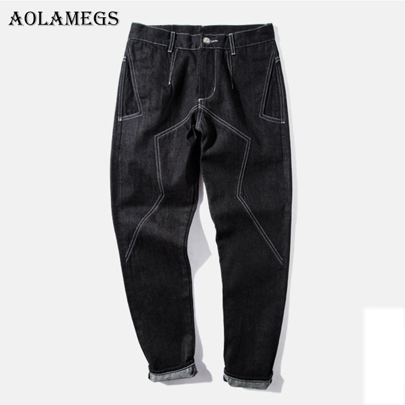 Aolamegs Biker Ripped Jeans For Men Line Black Pants Mens Selvage Skinny Jeans Brand Baggy Denim Cotton Trousers Bottoms Fashion nest of boxes wooden magic tricks close up stage appearing illusion gimmick prop funny mentalism wholesale