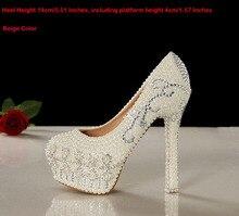 2018 Gorgeous 14cm high Heel Shoes Pretty Wedding Shoes White Bridal Dress Shoes Rhinestone Party Prom Dress Shoes