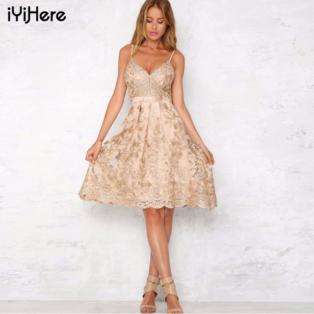 2017 Embroidery Lace Dress Summer Women Spaghetti Strap Backless Sexy A Line Dress Elegant Club Party Skater Dress Casual Ladies