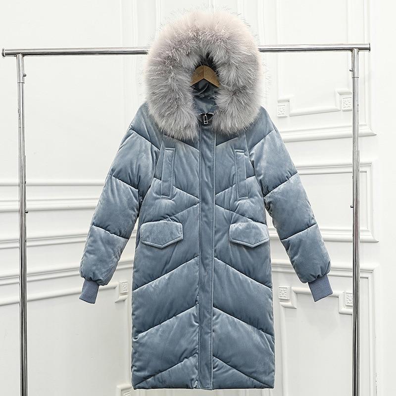 OLGITUM Winter Women Gold Velvet Female Jacket For Women Slim Hooded Coat Long Parka Big Fur Collar Thick Warm Women Outwear