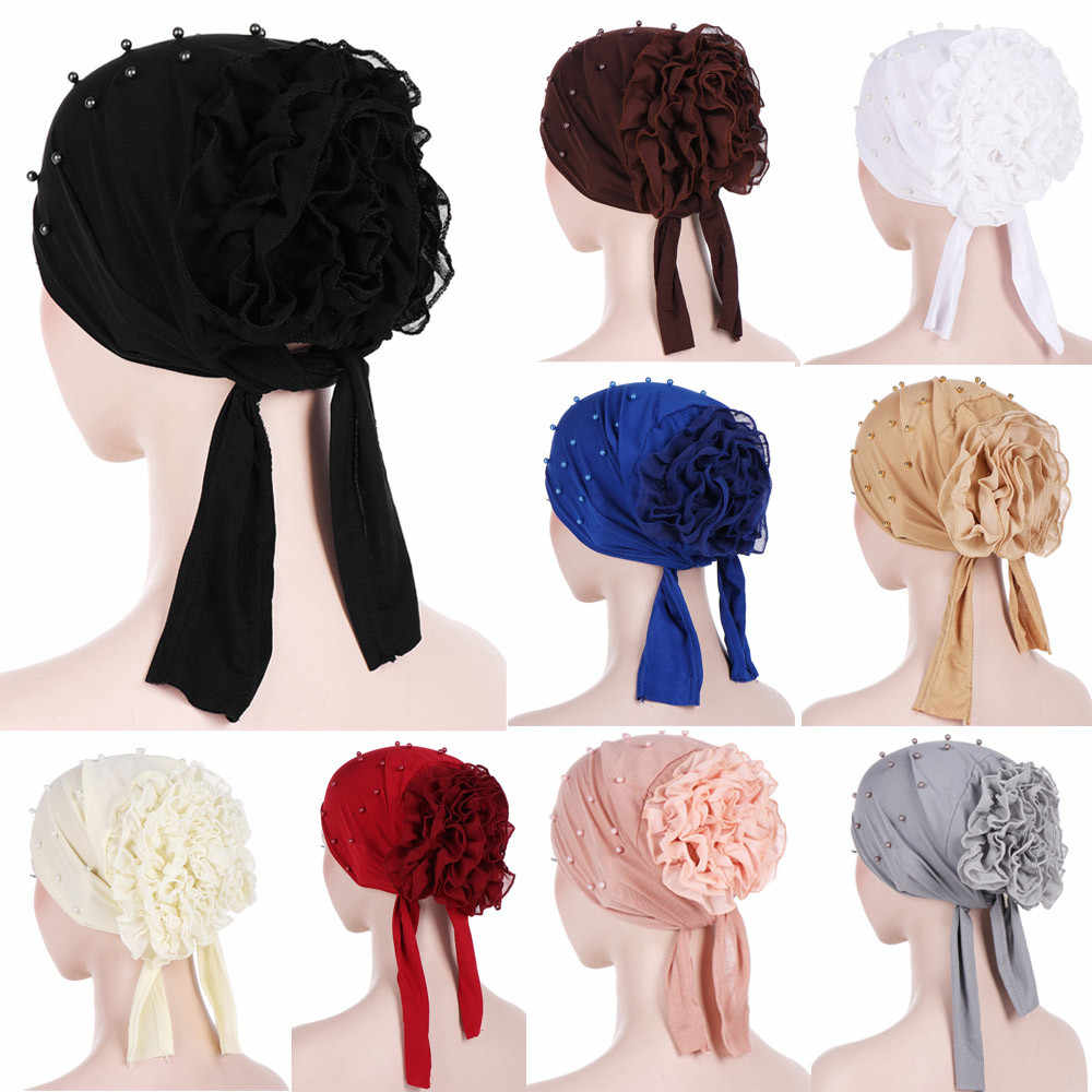 Cappello di modo 1PC Delle Donne Che Borda Floreale India Cappello Musulmano Ruffle Cancro Chemio Beanie Turbante Wrap Cap 2019 JAN30