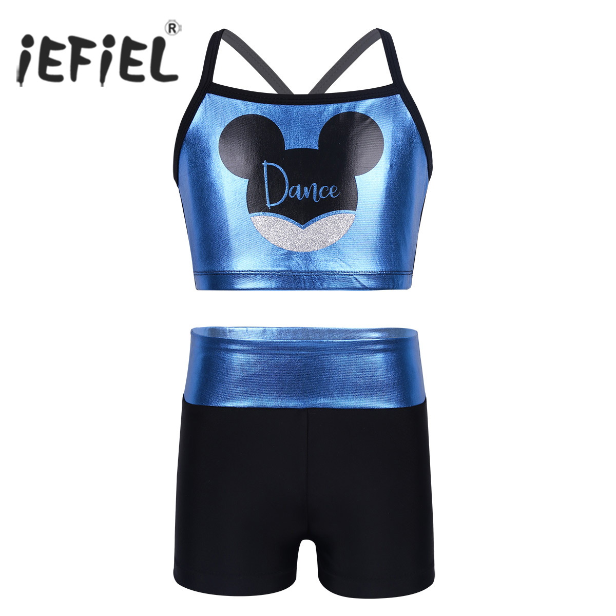 Kids Girls Dancewear Outfit Costumes Cartoon Animal Pattern Letters Dance Printed Tank Top with Shorts Set for Ballet Dancewear