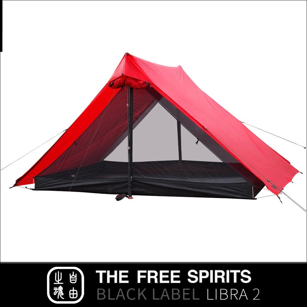 The Free Spirits TFS Libra2 tienda sin postes con revestimiento de silicona de 2 lados 2 personas 3 estaciones ultraligero impermeable Camping etiqueta negra - 3