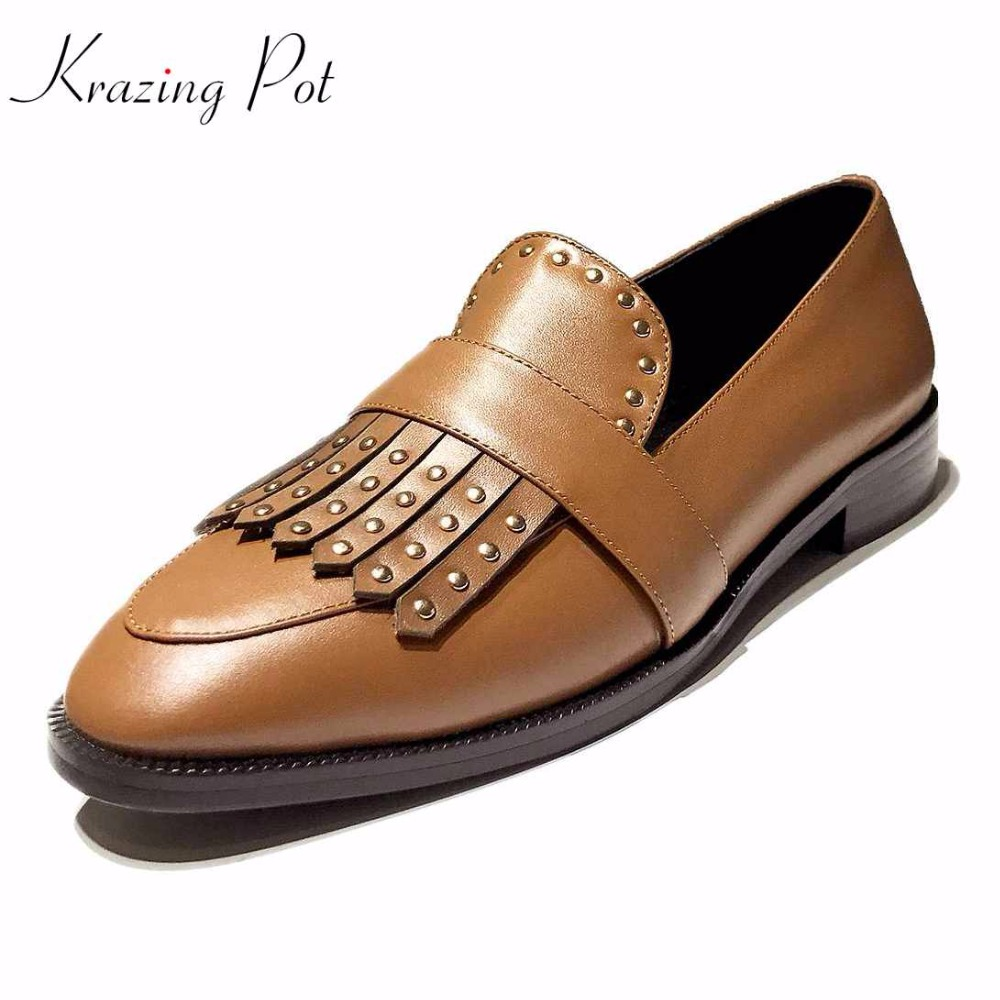 Krazing Pot new full grain leather shoes women round toe slip on women low heels pumps superstar tassel rivets beading shoes L12 branded men s penny loafes casual men s full grain leather emboss crocodile boat shoes slip on breathable moccasin driving shoes